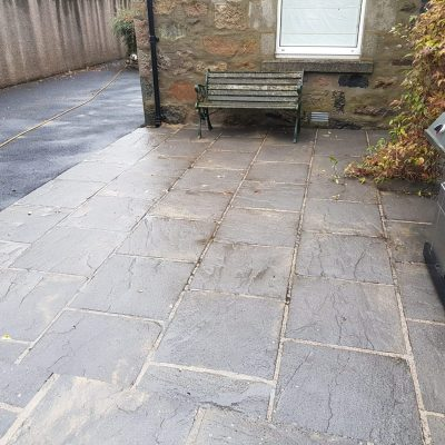 after pic of slate patio slabs in north deeside 1